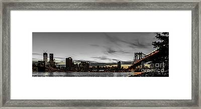 New Yorks Skyline At Night Colorkey Framed Print by Hannes Cmarits