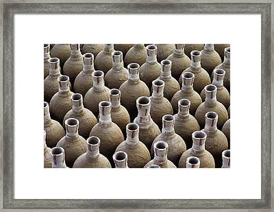 Newly Made Clay Vases Framed Print by George F. Mobley