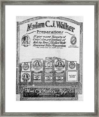 Newspaper Ad For Madam C.j. Walker Framed Print by Everett