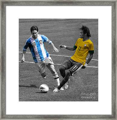 Neymar And Lionel Messi Clash Of The Titans Black And White Framed Print by Lee Dos Santos