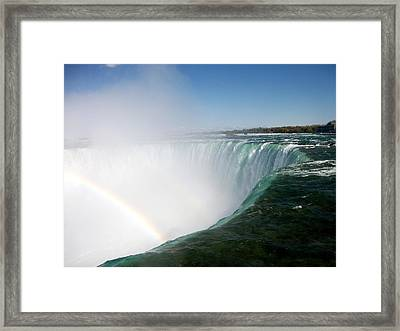 Niagara Falls Rainbow Please Do Not Jump For Gold   Framed Print by Danielle  Parent
