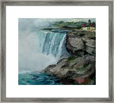 Niagara Falls Rocks Framed Print by Ylli Haruni