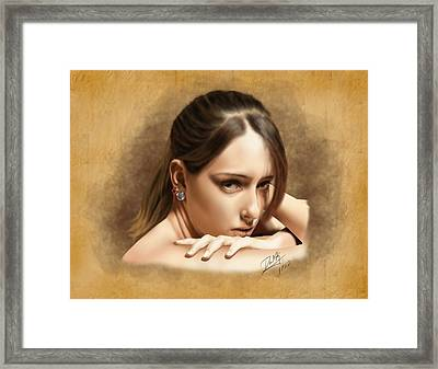 Nicole On Ipad Framed Print by Dave King