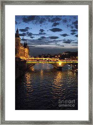 Night Fall Over The Seine Framed Print by Shawna Gibson