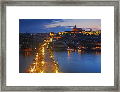 Night Lights Of Charles Bridge Or Framed Print by Trish Punch