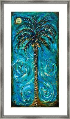 Night Palm Framed Print by Linda Olsen