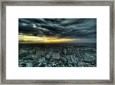 Night View Of Bangkok Framed Print by Anek Suwannaphoom