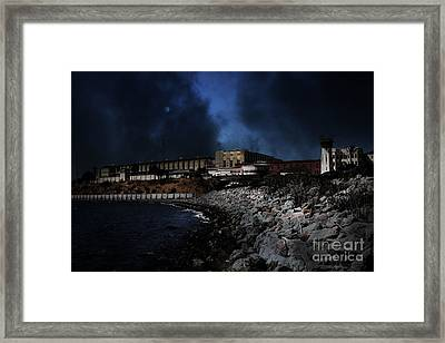 Nightfall Over Hard Time - San Quentin California State Prison - 5d18454 Framed Print by Wingsdomain Art and Photography
