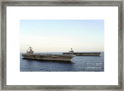Nimitz-class Aircraft Carriers Transit Framed Print by Stocktrek Images