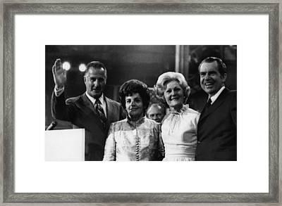 Nixon Presidency. From Left Us Vice Framed Print by Everett