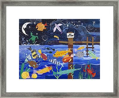 No Diving Framed Print by Barbara Esposito