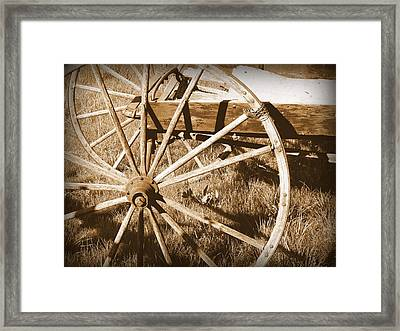 No Gas Needed Buggy Wheels Framed Print by Cindy Wright