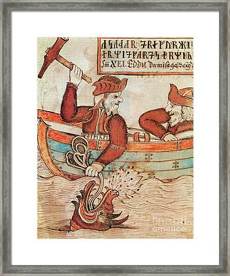 Norse Mythology Thors Fishing Trip Framed Print by Photo Researchers