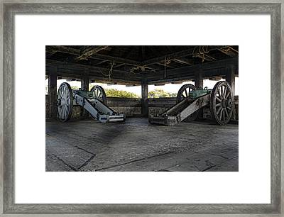 North Redoubt Cannons Framed Print by Peter Chilelli