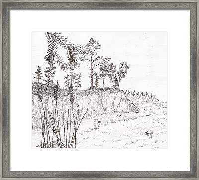 North Shore Memory... - Sketch Framed Print by Robert Meszaros