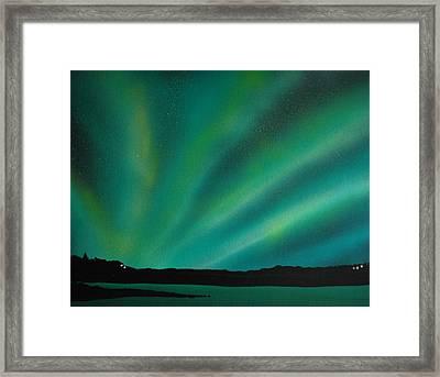 Northern Lights Cabin 3 Framed Print by DC Decker