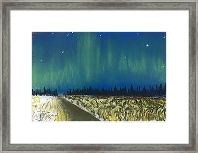 Northern Lights Road Trip Framed Print by Jackie Novak