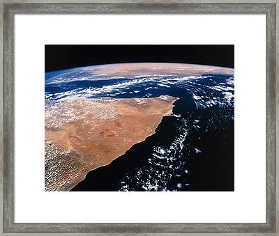 Northern Somalia & Gulf Of Aden From Space Sts-55 Framed Print by Nasa