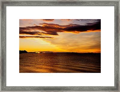 Northern Sunset Framed Print by Hakon Soreide