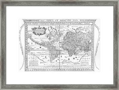 Nova Totius Terrarum Orbis Geographica Ac Hydrographica Tabula Framed Print by Dutch School