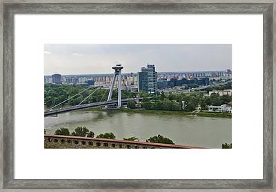 Novy Most Bridge - Bratislava Framed Print by Jon Berghoff