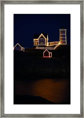 Nubble Light Aglow Framed Print by Rose Pasquarelli
