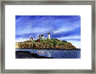 Nubble Light Summer Framed Print by Paul Gardner