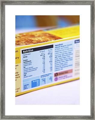 Nutrition Label Framed Print by Veronique Leplat