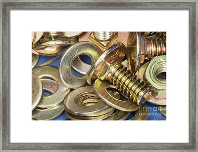 Nuts Bolts And Washers Framed Print by Shannon Fagan