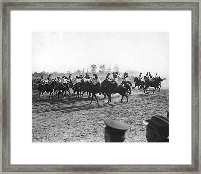 Ny Police Fencing On Horseback Framed Print by Underwood Archives