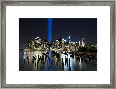 Nyc - Tribute Lights - The Pilings Framed Print by Shane Psaltis