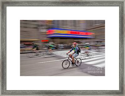 Nyc Bike Tour Framed Print by Susan Candelario