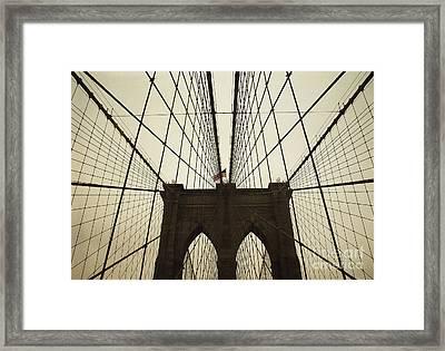 Nyc- Brooklyn Brige Framed Print by Hannes Cmarits