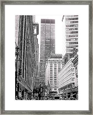 Nyc Buildings Labyrinth Framed Print by Mario Perez