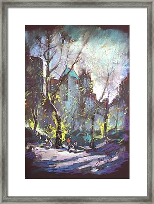 Nyc Central Park Controluce Framed Print by Ylli Haruni