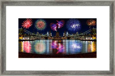 Nyc From Both Universes Framed Print by Val Black Russian Tourchin