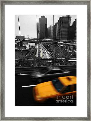 Nyc Yellow Cab Framed Print by Hannes Cmarits