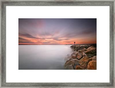 Oceanside Harbor Jetty Sunset 2 Framed Print by Larry Marshall