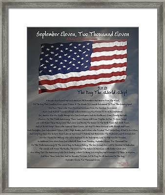 Ode For September Eleven Anniversary Framed Print by DigiArt Diaries by Vicky B Fuller