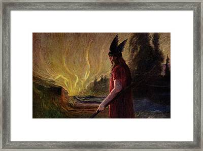 Odin Leaves As The Flames Rise Framed Print by H Hendrich