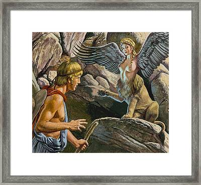 Oedipus Encountering The Sphinx Framed Print by Roger Payne