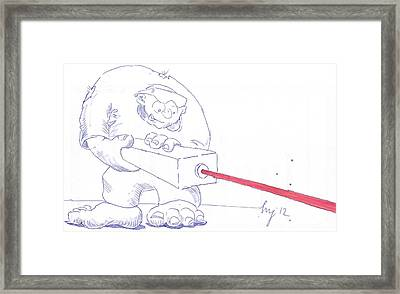 Ogre With Laser Cartoon Framed Print by Mike Jory