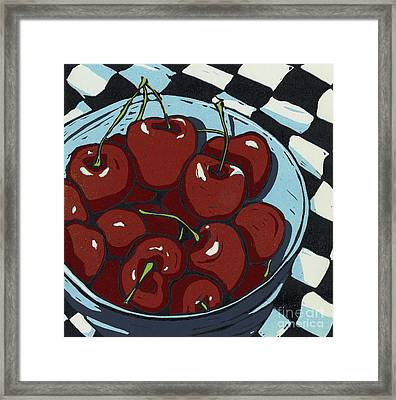Oh So Sweet - Linocut Print Framed Print by Annie Laurie