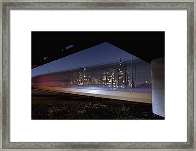 Oil Refinery And Train Blur Framed Print by Mike Raabe