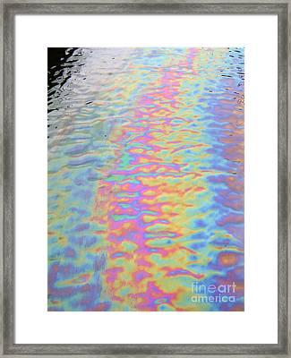 Oil Spill Rainbow Framed Print by Alexandra Jordankova