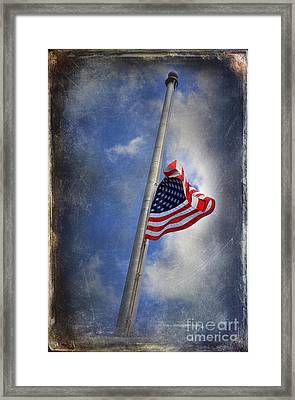 Ol Glory At Half Mast Framed Print by The Stone Age