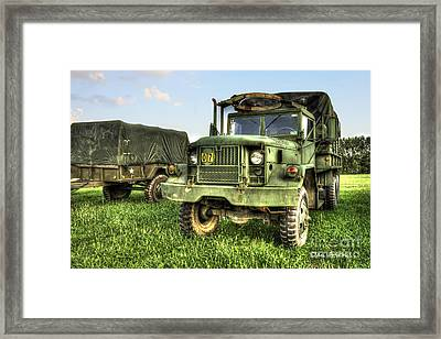 Old Army Truck In Field Framed Print by Dan Friend