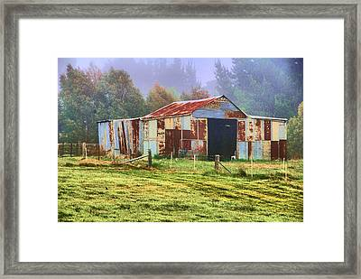 Old Barn In The Mist Framed Print by Fran Woods