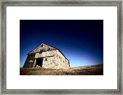 Old Barn On The Prairies Framed Print by Mark Duffy