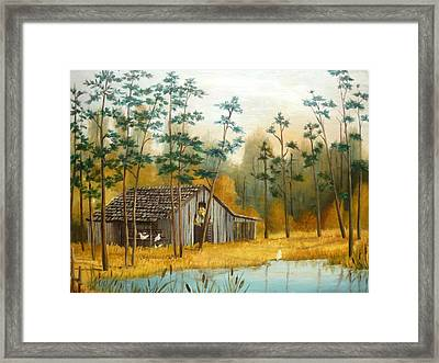 Old Barn With Chickens Framed Print by Vivian Eagleson
